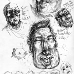 Faces in ballpoint pen.